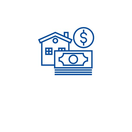 Morgage, home loan line concept icon. Morgage, home loan flat  vector website sign, outline symbol, illustration. Illustration
