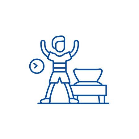 Morning gymnastics line concept icon. Morning gymnastics flat  vector website sign, outline symbol, illustration.