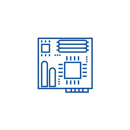 Motherboard line concept icon. Motherboard flat  vector website sign, outline symbol, illustration.