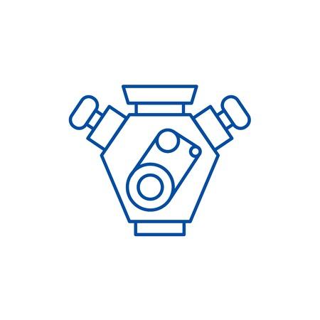Motor cars line concept icon. Motor cars flat  vector website sign, outline symbol, illustration.