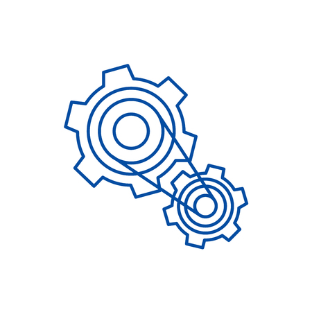 Motor settings,engine line concept icon. Motor settings,engine flat  vector website sign, outline symbol, illustration.