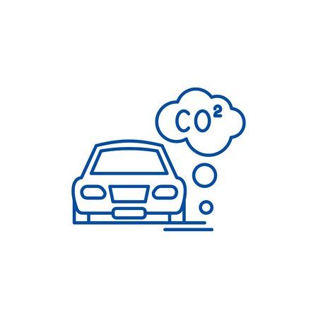 Motor vehicle pollution line concept icon. Motor vehicle pollution flat  vector website sign, outline symbol, illustration.