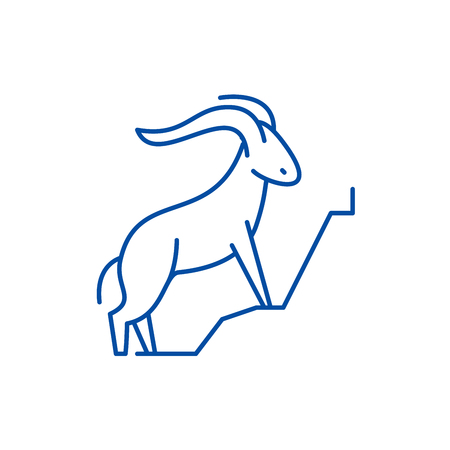 Mountain goat line concept icon. Mountain goat flat  vector website sign, outline symbol, illustration.