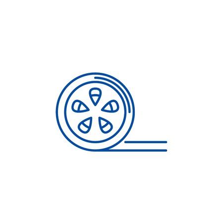 Movie reel line concept icon. Movie reel flat  vector website sign, outline symbol, illustration. Ilustração