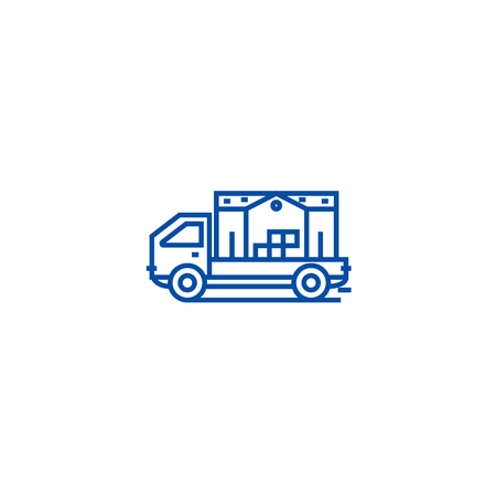 Moving house truck line concept icon. Moving house truck flat  vector website sign, outline symbol, illustration.