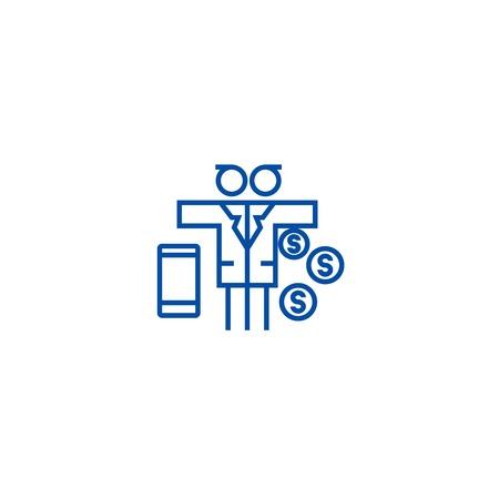 Multi tasking problem,man with money  line concept icon. Multi tasking problem,man with money  flat  vector website sign, outline symbol, illustration.