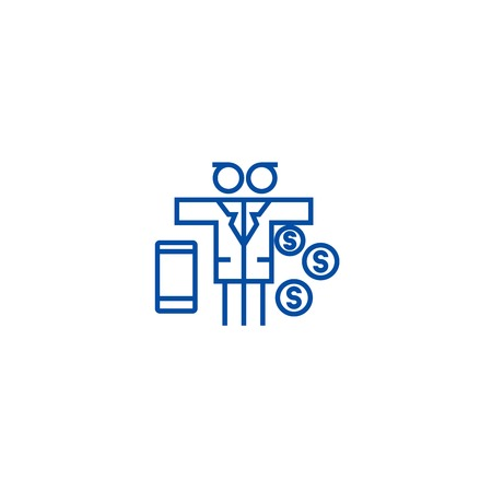 Multi tasking problem,man with money  line concept icon. Multi tasking problem,man with money  flat  vector website sign, outline symbol, illustration.