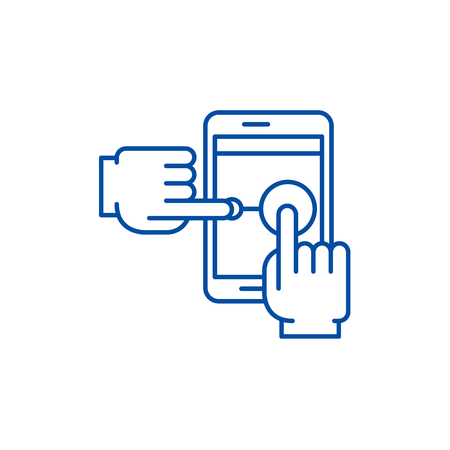 Multi touch line concept icon. Multi touch flat  vector website sign, outline symbol, illustration.