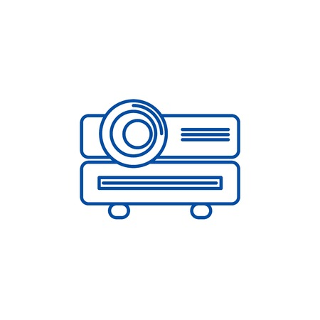 Multimedia projector line concept icon. Multimedia projector flat  vector website sign, outline symbol, illustration.  イラスト・ベクター素材