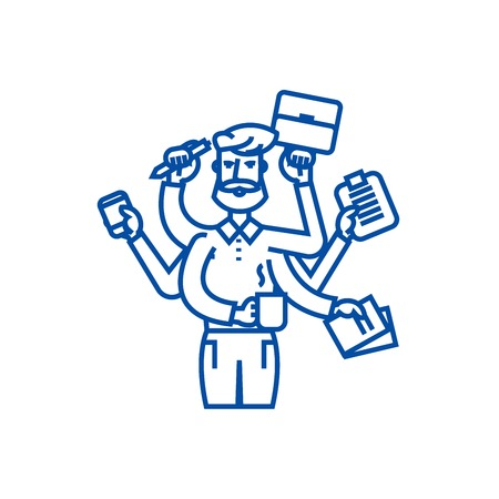 Multitasking businessman with case,  line concept icon. Multitasking businessman with case,  flat  vector website sign, outline symbol, illustration.