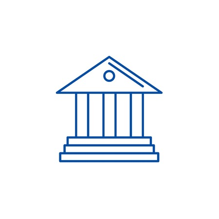 Museum,bank line concept icon. Museum,bank flat  vector website sign, outline symbol, illustration.