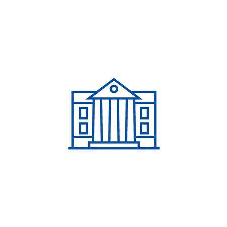 Museum,parliament line concept icon. Museum,parliament flat  vector website sign, outline symbol, illustration. Иллюстрация