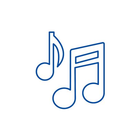 Music note sign line concept icon. Music note sign flat  vector website sign, outline symbol, illustration. Ilustração