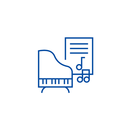 Music,piano,music notes line concept icon. Music,piano,music notes flat  vector website sign, outline symbol, illustration.