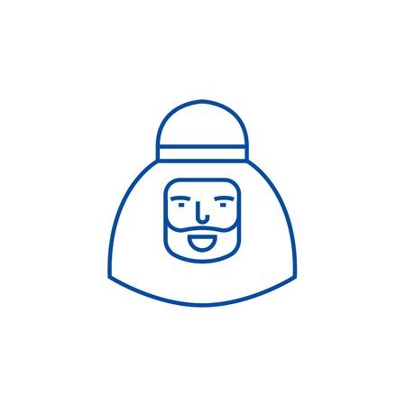 Muslim man line concept icon. Muslim man flat  vector website sign, outline symbol, illustration.