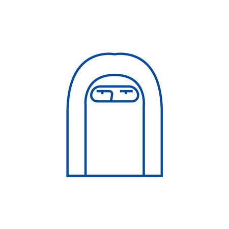 Muslim woman line concept icon. Muslim woman flat  vector website sign, outline symbol, illustration.