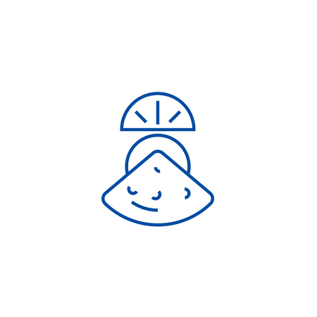 Mussel line concept icon. Mussel flat  vector website sign, outline symbol, illustration.