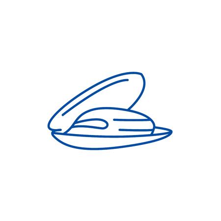 Icona del concetto di linea di cozze. Cozze piatto vettore sito web segno, simbolo di contorno, illustrazione.