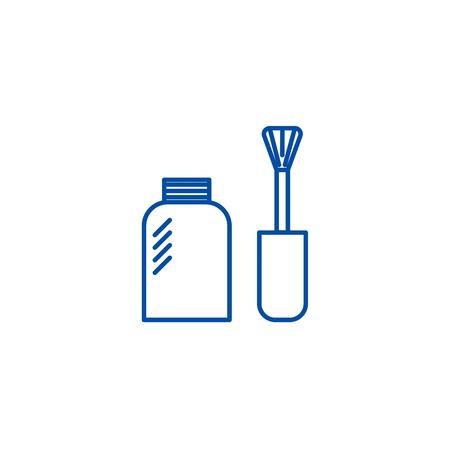 Nail polish line concept icon. Nail polish flat  vector website sign, outline symbol, illustration.