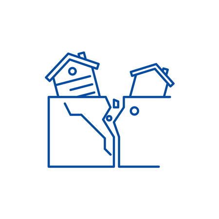 Natural disasters line concept icon. Natural disasters flat  vector website sign, outline symbol, illustration. Ilustração