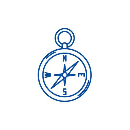 Navigation compass line concept icon. Navigation compass flat  vector website sign, outline symbol, illustration.