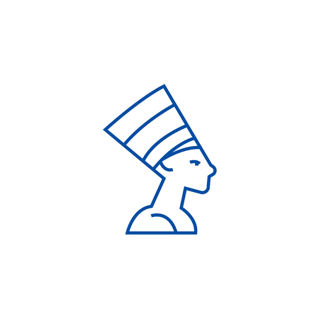 Nefertity,egypt line concept icon. Nefertity,egypt flat  vector website sign, outline symbol, illustration.