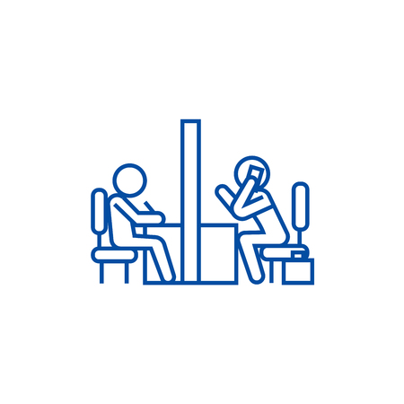 Negotiation room, coworking office line concept icon. Negotiation room, coworking office flat  vector website sign, outline symbol, illustration.
