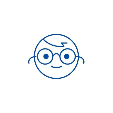 Nerdy emoji line concept icon. Nerdy emoji flat  vector website sign, outline symbol, illustration. Illustration