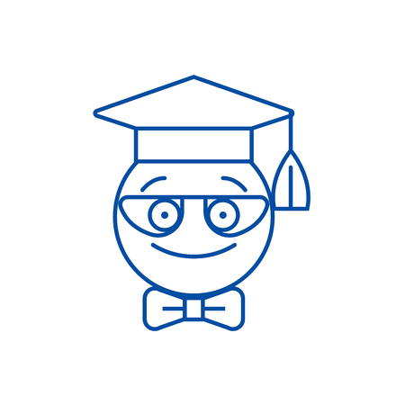 Nerdy student emoji line concept icon. Nerdy student emoji flat  vector website sign, outline symbol, illustration.