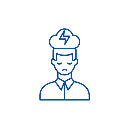 Nervous breakdown line concept icon. Nervous breakdown flat  vector website sign, outline symbol, illustration. 向量圖像