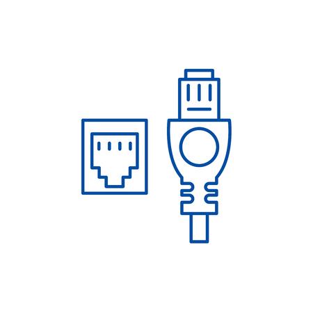 Icône de concept de ligne de câble et de prise réseau. Câble réseau et prise vecteur plat signe site Web, symbole du contour, illustration.