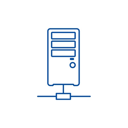 Network server line concept icon. Network server flat  vector website sign, outline symbol, illustration.