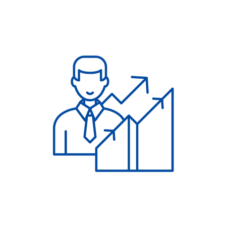 New career line concept icon. New career flat  vector website sign, outline symbol, illustration.