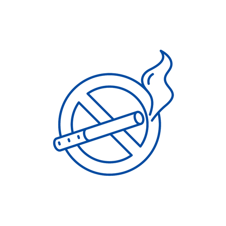 No smoking line concept icon. No smoking flat  vector website sign, outline symbol, illustration.