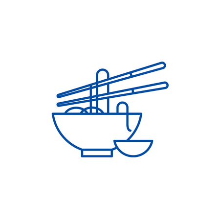 Noodles line concept icon. Noodles flat  vector website sign, outline symbol, illustration.