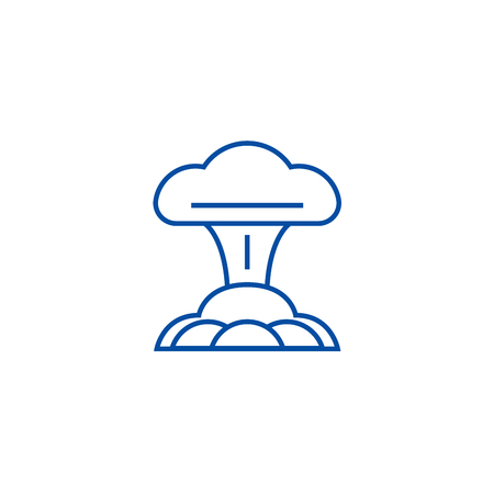 Nuclear explosion line concept icon. Nuclear explosion flat  vector website sign, outline symbol, illustration.