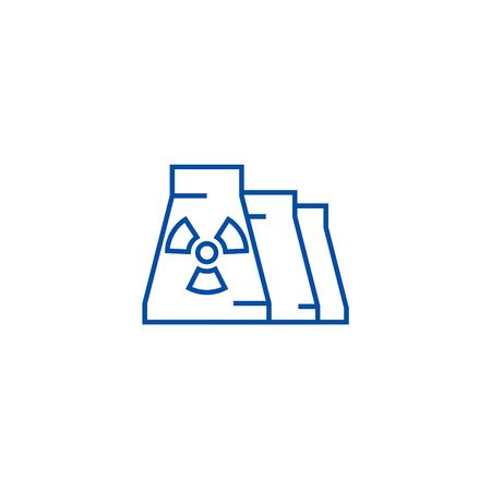 Nuclear plant line concept icon. Nuclear plant flat  vector website sign, outline symbol, illustration. Illustration