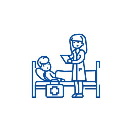 Nurse and patient line concept icon. Nurse and patient flat  vector website sign, outline symbol, illustration.