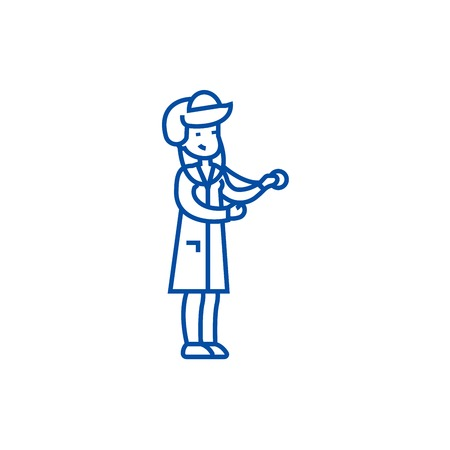 Nurse diagnost line concept icon. Nurse diagnost flat vector website sign, outline symbol, illustration.