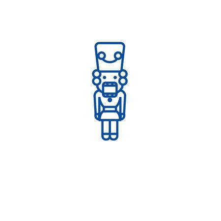 Nut cracker, toy soldier line concept icon. Nut cracker, toy soldier flat  vector website sign, outline symbol, illustration. Ilustração