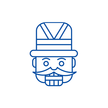 Nutcracker,toy soldier line concept icon. Nutcracker,toy soldier flat  vector website sign, outline symbol, illustration.