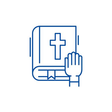 Oath line concept icon. Oath flat  vector website sign, outline symbol, illustration. Illustration