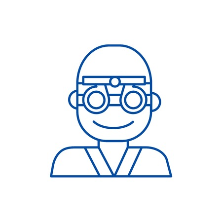 Oculist,ophthalmologist,eye doctor line concept icon. Oculist,ophthalmologist,eye doctor flat  vector website sign, outline symbol, illustration.