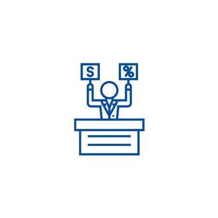 Offer,market,auction line concept icon. Offer,market,auction flat  vector website sign, outline symbol, illustration.