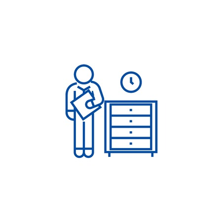 Office archive, archiver line concept icon. Office archive, archiver flat  vector website sign, outline symbol, illustration.