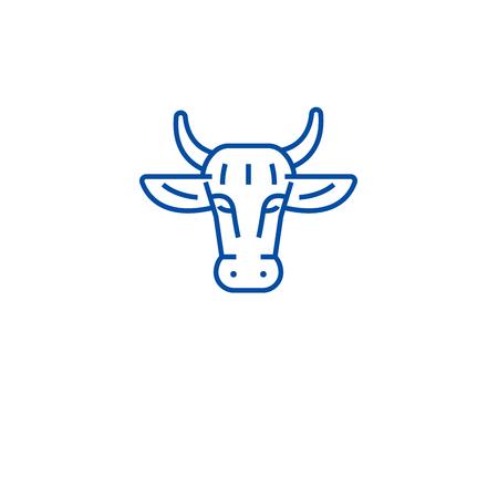 Ogranic beef line concept icon. Ogranic beef flat  vector website sign, outline symbol, illustration. Imagens - 119984961