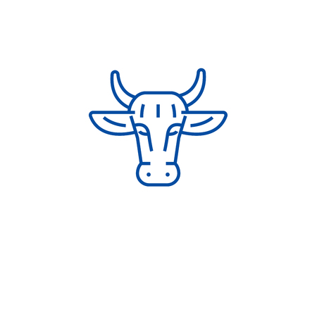 Ogranic beef line concept icon. Ogranic beef flat  vector website sign, outline symbol, illustration.