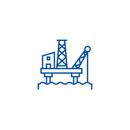 Oil platform line concept icon. Oil platform flat  vector website sign, outline symbol, illustration.