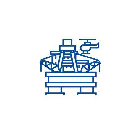 Oil platform, rig line concept icon. Oil platform, rig flat  vector website sign, outline symbol, illustration. Ilustração
