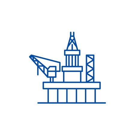 Oil platforms line concept icon. Oil platforms flat  vector website sign, outline symbol, illustration.